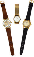 Timepieces:Wristwatch, Three Watches, 14k Gold Lord Elgin, 18k Gold Omega Bumper Automatic, Swiss Gold Plate Skeleton Watch. ... (Total: 3 Items)