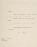 Autographs:Military Figures, Charles de Gaulle Typed Letter Signed. One page, i...