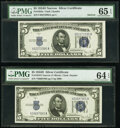 Small Size:Silver Certificates, Fr. 1654 $5 1934D Narrow Silver Certificates. U-A and V-A Blocks. PMG Graded Gem Uncirculated 65 EPQ; Choice Uncirculated 64 ...