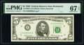Small Size:Federal Reserve Notes, Fr. 1969-E $5 1969 Federal Reserve Note. PMG Superb Gem Unc 67 EPQ.. ...