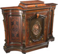 Furniture, An American Renaissance Revival Sideboard with Repoussé Copper Relief Panel Attributed to Thomas Godey, circa 1870. 43-1/2 x...
