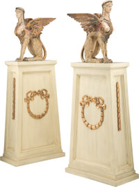 A Pair of Large Continental Polychrome Carved Wood Sphinxes on Gilt and Painted Pedestals, late 19th century and late