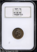 Proof Indian Cents: , 1871 1C PR65 Red NGC. Deeply mirrored over each side with ...
