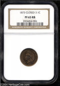 Proof Indian Cents: , 1873 1C Closed 3 PR65 Red and Brown NGC. The obverse ...