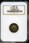 Proof Indian Cents: , 1880 1C PR66 Red and Brown NGC. Splashes of burnt-orange, ...