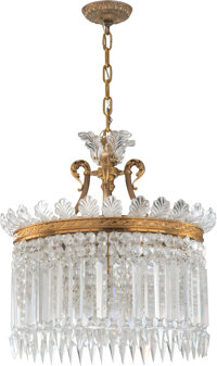 A Baccarat Eight-Light Gilt Bronze and Glass Crinoline Chandelier, France, 20th cent