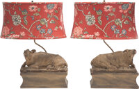 A Pair of Bronze Water Buffalo-Form Lamps 24-1/2 x 20 x 12 inches (62.2 x 50.8 x 30.5 cm) (each, overall)  <