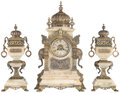 Clocks & Mechanical, A Three-Piece American Orientalist Patinated and Partial Gilt Bronze Mounted Onyx and Clock Garniture, circa 1890. Marks to ... (Total: 3 Items)