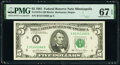 Small Size:Federal Reserve Notes, Fr. 1976-I $5 1981 Federal Reserve Note. PMG Superb Gem Unc 67 EPQ.. ...