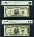 Small Size:Silver Certificates, Fr. 1656 $5 1953A Silver Certificates. D-A and E-A Blocks. PMG Gem Uncirculated 66 EPQ.. ... (Total: 2 notes)