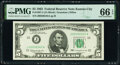 Small Size:Federal Reserve Notes, Fr. 1967-J; J* $5 1963 Federal Reserve Notes. PMG Graded Gem Uncirculated 66 EPQ; Gem Uncirculated 65 EPQ.. ... (Total: 2 notes)