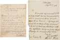 Autographs:Military Figures, Richard Howe Autograph Letter Signed and Document Signed. ...