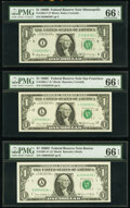 Small Size:Federal Reserve Notes, Fr. 1905-I* $1 1969B Federal Reserve Star Note. PMG Gem Uncirculated 66 EPQ;. Fr. 1906-L* $1 1969C Federal Reserve Star No... (Total: 3 notes)