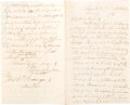 Autographs:Military Figures, General Thomas Jordan Autograph Letter Signed with General Beauregard Initialed Note. ...