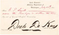 Autographs:Military Figures, Drake De Kay Partially Printed Pass. One page, 7....