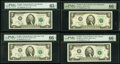 Small Size:Federal Reserve Notes, Fr. 1937-A*; B; E* $2 2003 Federal Reserve Notes. PMG Graded Gem Uncirculated 65 EPQ; Gem Uncirculated 66 EPQ (2);. Fr. 19... (Total: 4 notes)