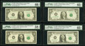 Small Size:Federal Reserve Notes, Fr. 1913-K* $1 1985 Federal Reserve Star Note. PMG Gem Uncirculated 66 EPQ;. Fr. 1916-I* $1 1988A Federal Reserve Star Not... (Total: 4 notes)