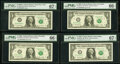 Fr. 1930-B* $1 2003A Federal Reserve Star Note. PMG Superb Gem Unc 67 EPQ; Fr. 1933-D* (2); K* $1 2006 Federal Reserve S...