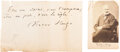 """Autographs:Authors, Victor Hugo Autograph Quote Signed. One page, 7"""" ..."""