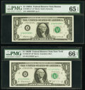 Fr. 1902-B*; G* $1 1963B Federal Reserve Star Notes. PMG Graded Gem Uncirculated 66 EPQ; Gem Uncirculated 65 EPQ; ... (T...