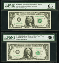 Fr. 1902-B*; G* $1 1963B Federal Reserve Star Notes. PMG Graded Gem Uncirculated 66 EPQ; Gem Uncirculated 65 EPQ; Fr. 19...
