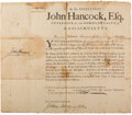 Autographs:Statesmen, John Hancock Military Appointment Signed as Governor of Massachusetts....