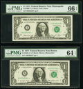 Small Size:Federal Reserve Notes, Fr. 1908-I* $1 1974 Federal Reserve Star Note. PMG Gem Uncirculated 66 EPQ;. Fr. 1909-A*; I* $1 1977 Federal Reserve Star ... (Total: 5 notes)