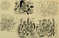"""Works on Paper, Fernand Léger (1881-1955). Six Études pour """"Les Cyclistes"""". Ink, brush and ink, pencil, and traces of wash on wove paper..."""