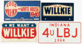 Political:3D & Other Display (1896-present), Wendell Willkie and Lyndon B. Johnson: License Plates. ...