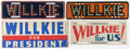 Political:3D & Other Display (1896-present), Wendell Willkie: Four License Plates. ... (Total: 3 Items)