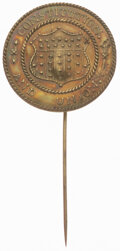 """Political:Ferrotypes / Photo Badges (pre-1896), John Bell: """"Constitution and Union"""" Brass Shell Slogan Stickpin...."""