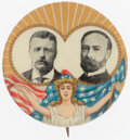 Political:Pinback Buttons (1896-present), Roosevelt & Fairbanks: Colorful Miss Liberty Jugate....