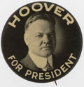 """Political:Pinback Buttons (1896-present), Herbert Hoover: Large 2 1/4"""" Picture Pin...."""