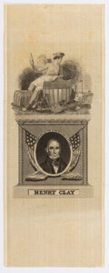 """Political:Ribbons & Badges, Henry Clay: """"Champion of the American System"""" Silk Ribbon...."""