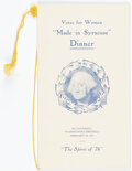 """Political:Small Paper (1896-present), Woman's Suffrage: Votes for Women """"Made in Syracuse"""" Dinner Menu...."""