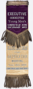 Political:Ribbons & Badges, James G. Blaine: Large One-Day Event Ribbon. ...