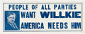 Political:Posters & Broadsides (1896-present), Wendell Willkie: Window Display Sign....