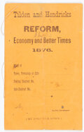 """Political:Small Paper (pre-1896), Samuel J. Tilden: Small """"Canvass"""" or Voter Book...."""