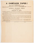 Political:Small Paper (pre-1896), Franklin Pierce: Subscriber's List For 1852 Campaign Newspaper....