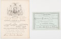 Political:Small Paper (pre-1896), Chester Alan Arthur: Ticket and Invitation to Reception for Vice President-Elect Arthur.... (Total: 2 Items)