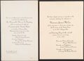 Political:Small Paper (1896-present), Warren G. Harding and James M. Cox: Pair of Notification Ceremonies Invitations....