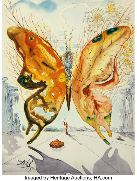 Salvador Dali (1904-1989) Venus Butterfly, 1947 Gouache, watercolor, India ink, pencil and collage on card 12-5/8 x 9...