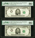 Small Size:Federal Reserve Notes, Fr. 1969-C; C* $5 1969 Federal Reserve Notes. PMG Gem Uncirculated 66 EPQ.. ... (Total: 2 notes)