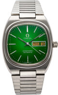 Timepieces:Wristwatch, Omega, Stainless Steel Seamaster Automatic, Enamel Dial, c...