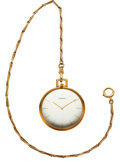 Timepieces:Pocket (post 1900), Tiffany & Co. Ultra-Thin Pocket Watch By Universal Geneve, 14k Gold Chain. ...