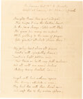 Autographs:U.S. Presidents, Louisa Catherine Adams Holographic Poem with Autograph Note Signed. ... (Total: 2 Items)
