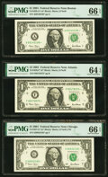 Small Size:Federal Reserve Notes, Fr. 1926-A*; F* $1 2001 Federal Reserve Star Notes. PMG Gr...