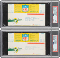 """1967 NFL Championship Game """"The Ice Bowl"""" Full Tickets w/Vouchers Lot of 2, PSA EX-MT 6"""