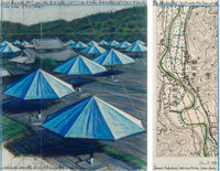 Christo and Jeanne-Claude (1935-2009) The Umbrellas, Joint Project for Japan & USA, diptych, 1989 En