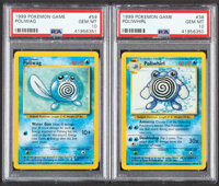 Pokémon Poliwhril #38 and Poliwag #59 Unlimited Base Set Trading Cards (Wizards of the Coast, 1999) PSA GEM MINT...